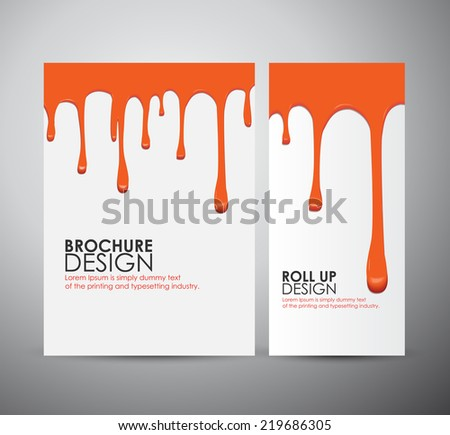 Vector seamless red paint drips on brochure business design template or roll up.  - stock vector