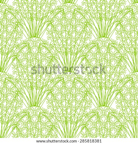 Vector seamless repeating line green pineapple pattern on white background - stock vector