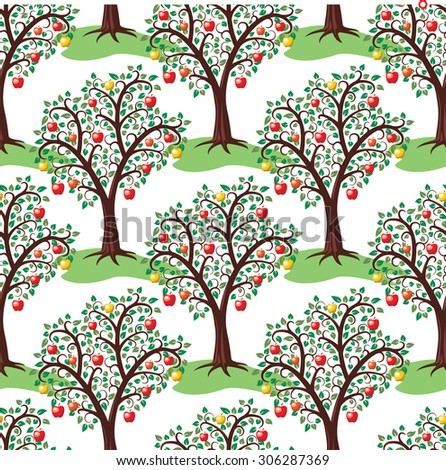 vector seamless repeating pattern with apple trees with fruits - stock vector
