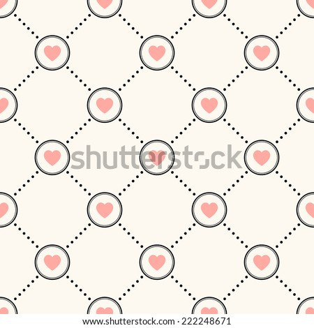 Vector seamless retro pattern, polka dot with hearts. Can be used for wallpaper, pattern fills, web page background,surface textures - stock vector