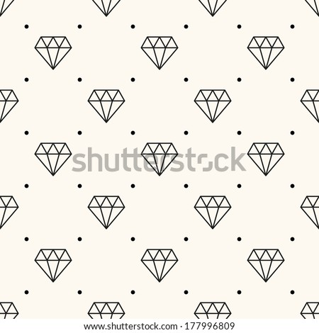 Vector seamless retro pattern, with diamonds. Can be used for wallpaper, pattern fills, web page background,surface textures - stock vector