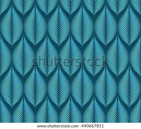 Vector seamless rhythmic fractal pattern. Hues of blue and green. Rhythmical fantasy leaves. Art deco style. For textile, fabric, wallpaper, wrapping paper. Organic forms. Illusion of volume. - stock vector