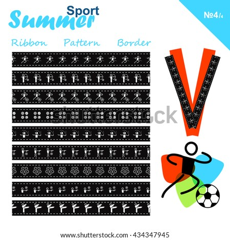 Vector seamless ribbons collection. Summer sports border set, simple line. Athletics, Archery, Football, Shooting, Fencing, Modern Pentathlon, Taekwondo, Sport balls theme. Trendy colors - stock vector