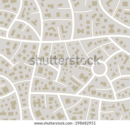vector seamless road city map - stock vector