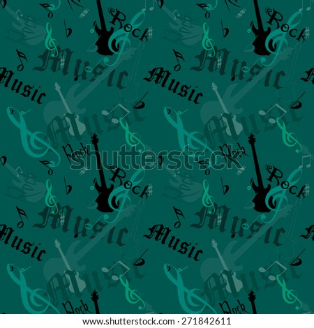 "vector seamless rock music pattern with guitars, keys, notes and labels ""rock"" and ""music"" - stock vector"