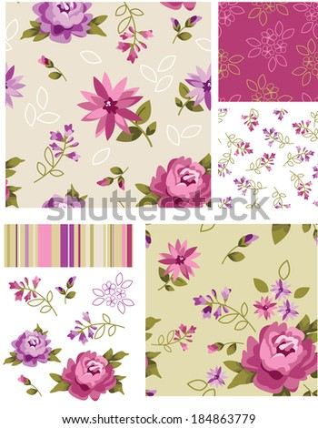 Vector Seamless Rose Patterns and Icons. Use as fills, digital paper, or print off onto fabric to create unique items. - stock vector