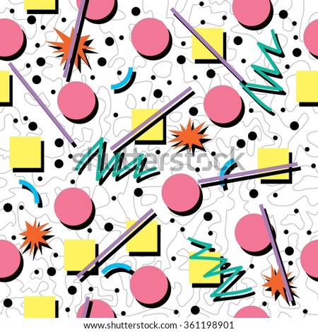 vector seamless 80s or 90s chaotic background pattern - stock vector