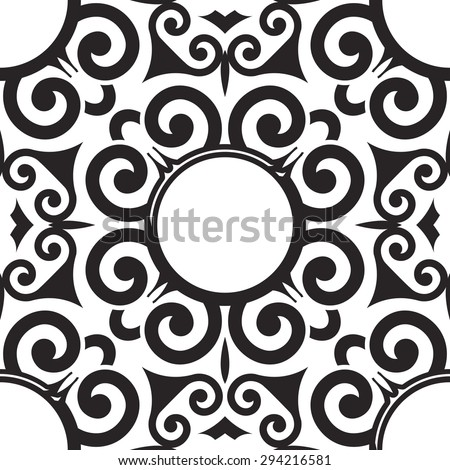 Vector Seamless Scroll Pattern for Textile Design. Black Twirl Shapes on White. Tile in Vintage Style - stock vector