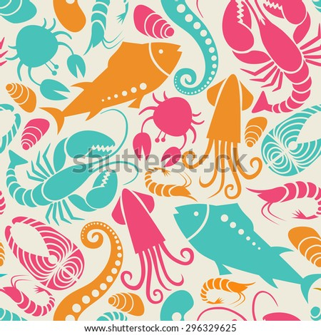 Vector seamless seafood and fish pattern. Food background for menu and market. Color illustration for print, web