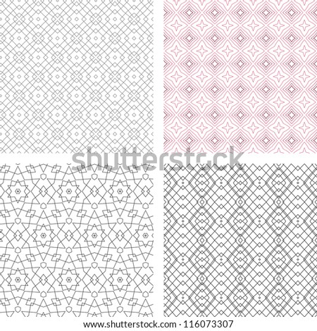 vector seamless set of abstract line floral pattern background