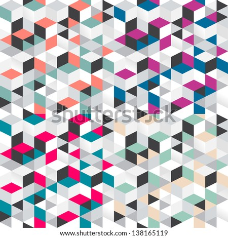 Vector seamless set pattern of simple geometrical shapes - stock vector