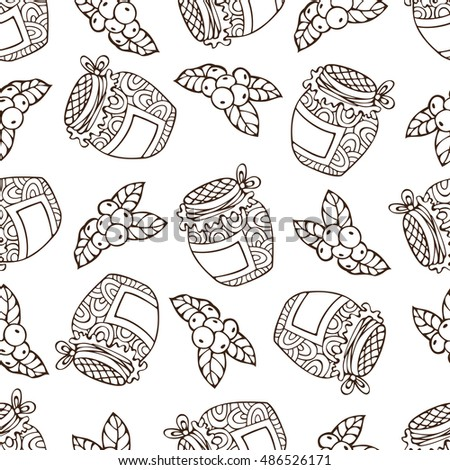 Vector seamless sketch berry pattern. Hand-drawn linear cranberry and jam-jar. Thanksgiving day. Duotone outlined boundless background for your design. Harvest time.
