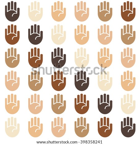 Vector seamless skin tone palms background pattern