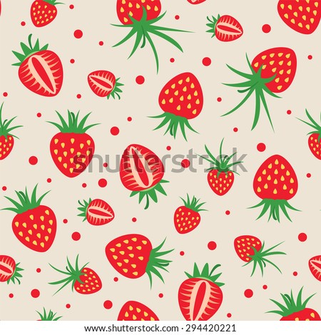 vector seamless strawberry pattern - stock vector