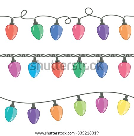 vector seamless strings of christmas light lamps - stock vector