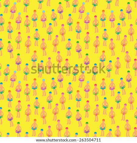 Vector Seamless Swimming Tiny People Background Pattern - stock vector