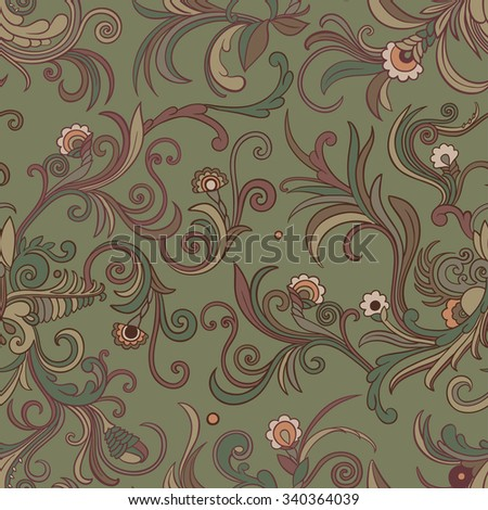 Vector seamless swirly floral pattern. Stylized flowers and leaves on a khaki green background. - stock vector