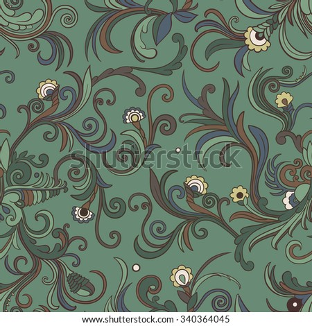 Vector seamless swirly floral pattern. Stylized flowers and leaves on an emerald green background. - stock vector