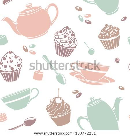 vector seamless tea pattern - stock vector