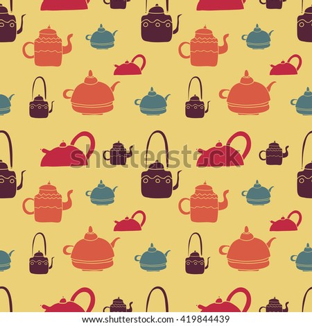 Vector seamless tea pattern set. Teapots collection. Colored hand drawn tea objects. Pastel colors yellow, brown, red, blue, orange - stock vector