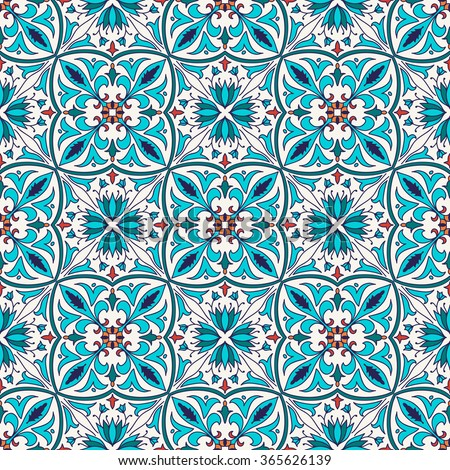 Vector seamless texture. Beautiful colored pattern for design and fashion with decorative elements. Portuguese tiles, Azulejo, Talavera, Moroccan ornaments in blue and orange colors - stock vector