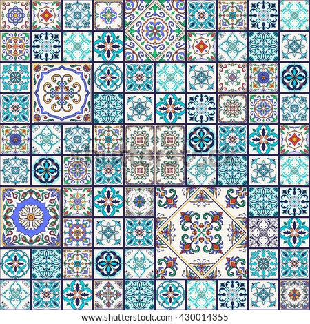 Vector seamless texture. Beautiful mega patchwork pattern for design and fashion with decorative elements. Portuguese tiles, Azulejo, Talavera; Moroccan ornaments in blue and orange colors - stock vector