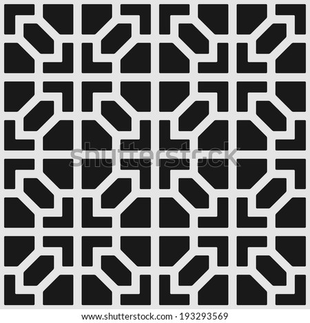 Vector seamless texture: endless abstract monochrome geometric pattern. - stock vector