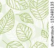 Vector seamless texture for design of green leaves. Eco background - stock