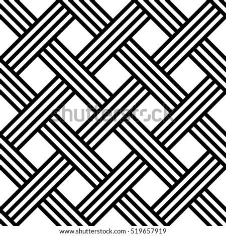 Vector seamless texture. Modern abstract background. Monochrome geometrical pattern. Overlapping strips.