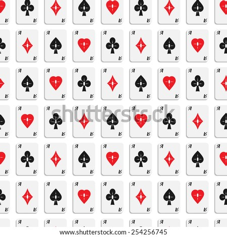 Vector seamless  texture of aces with designer card suits.