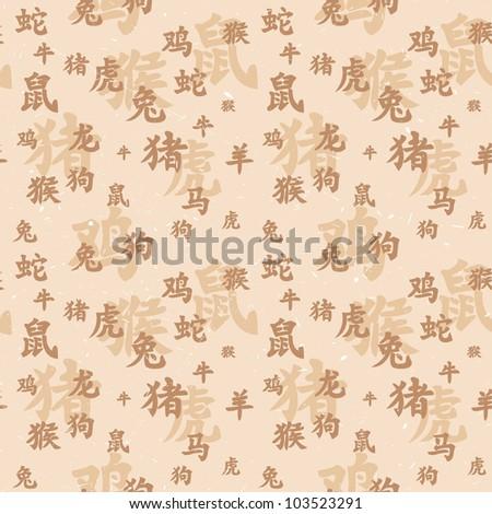 Vector seamless texture of ancient chinese zodiac hieroglyphs - stock vector