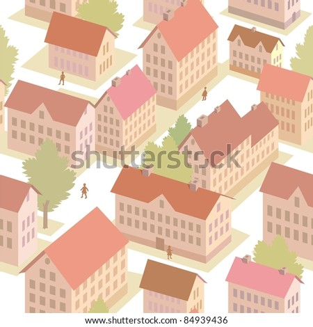 Vector seamless texture of town