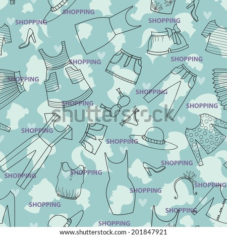 Vector seamless texture. Pattern with ladies wear for use in design, wallpaper, fabrics, packaging, textile, web page - stock vector