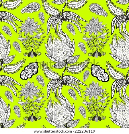 Vector seamless texture with abstract flowers. Endless background. Ethnic seamless pattern. Vector backdrop. Bright pattern. Summer template. Use for wallpaper,pattern fills, web page background - stock vector