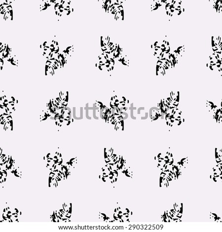 Vector seamless texture with black abstract elements