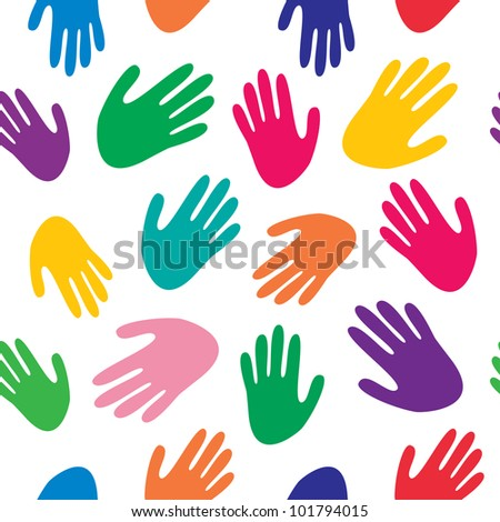 Vector seamless texture with color human palms