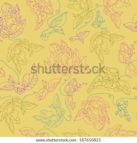 Vector seamless texture with curled abstract flowers elements.