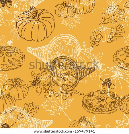 Vector seamless Thanksgiving  pattern. Repeating abstract background. Hand drawn illustration with turkey, corn on the cob, acorns, pumpkin, cranberry, apple pie, pilgrim hat and oak leafs.