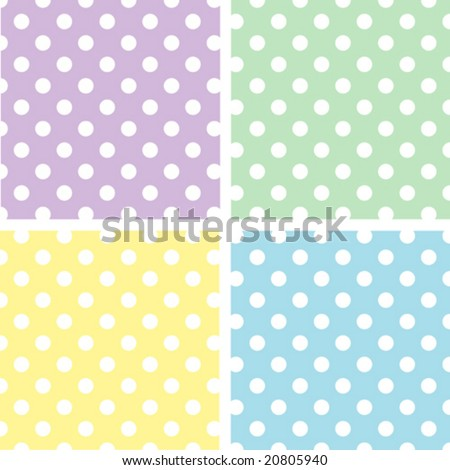 vector - Seamless Tiles: Large White Polka Dots on Pastel Lavender, Yellow, Aqua, Green. EPS8 includes 4 pattern swatches (tiles) that seamlessly fill any shape. - stock vector