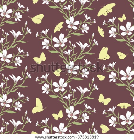 Vector seamless tiling pattern - romantic flowers. For printing on fabric, scrapbooking, gift wrap. - stock vector