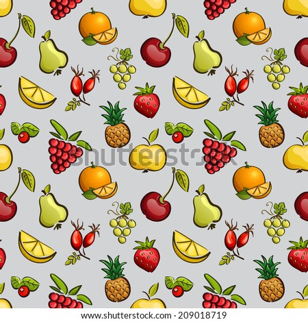 Vector seamless tiling patterns - fruits and berries. For printing on fabric, scrapbooking, gift wrap. - stock vector