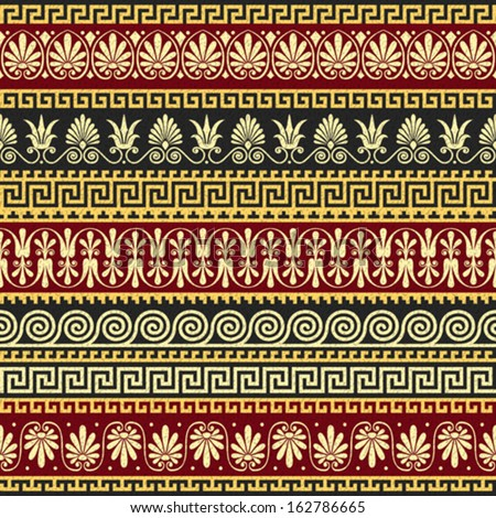 Vector seamless Traditional vintage golden Greek ornament (Meander) and floral pattern on a red and black background - stock vector