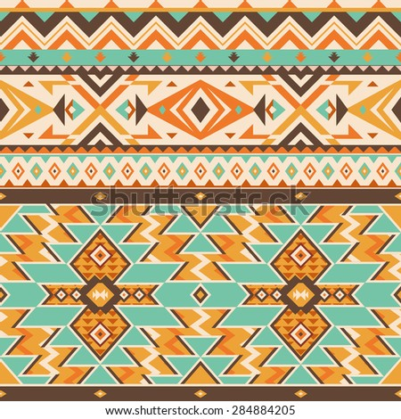 Vector Seamless Tribal Pattern. Ethnic Ornament with Triangles, Rhombus and Stripes. Stylish Background for Textile Design - stock vector