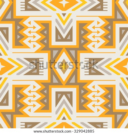 Vector Seamless Tribal Pattern for Textile Design. Geometrical Ethnic Print with Mix of Rhombuses, Triangles and Stripes - stock vector