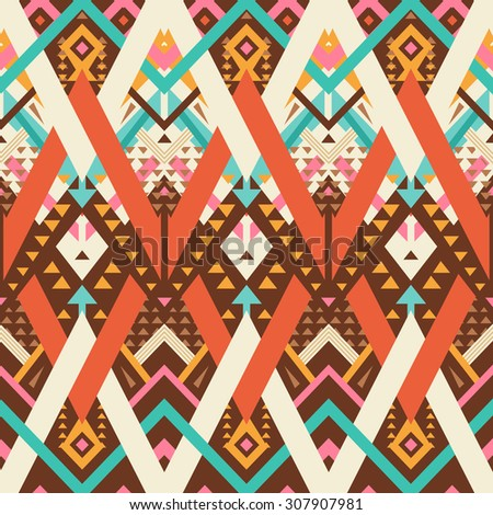 Vector Seamless Tribal Pattern. Geometrical Ethnic Print Ornament with Mix of Triangles and Stripes - stock vector