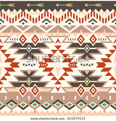 Vector Seamless Tribal Pattern in Red - Brown Colors. Ethnic Ornament with Triangles, Rhombus and Stripes. Textile Design - stock vector