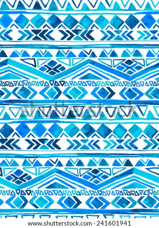 vector seamless tribal pattern in shades of blue and turquoise. aztec ethnic motifs in striped layout. - stock vector