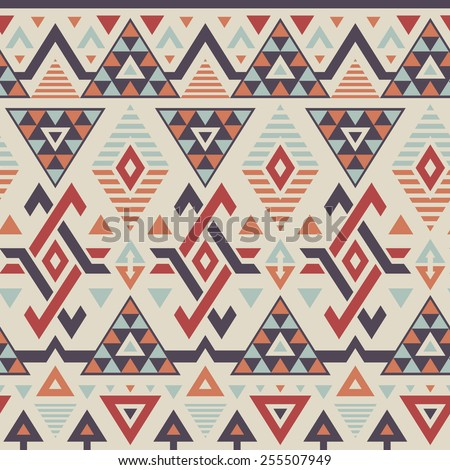 Vector Seamless Tribal Pattern in Smoky Colors. Geometrical Ethnic Print Background with Rhombus, Triangles and Stripes - stock vector