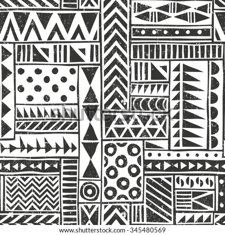 Vector seamless tribal pattern. Seamless background with different geometric shapes. Hand drawn illustration.. Contains no transparency and blending modes.