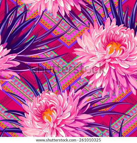 vector seamless tropical design on tribal ornamental background. large aster flowers and palm leaves on a geometric aztec background. colorful print for fashion or interior - stock vector